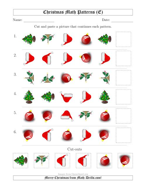 The Christmas Picture Patterns with Shape and Rotation Attributes (E) Math Worksheet