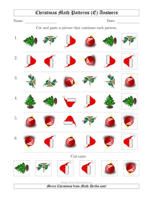 The Christmas Picture Patterns with Shape and Rotation Attributes (E) Math Worksheet Page 2