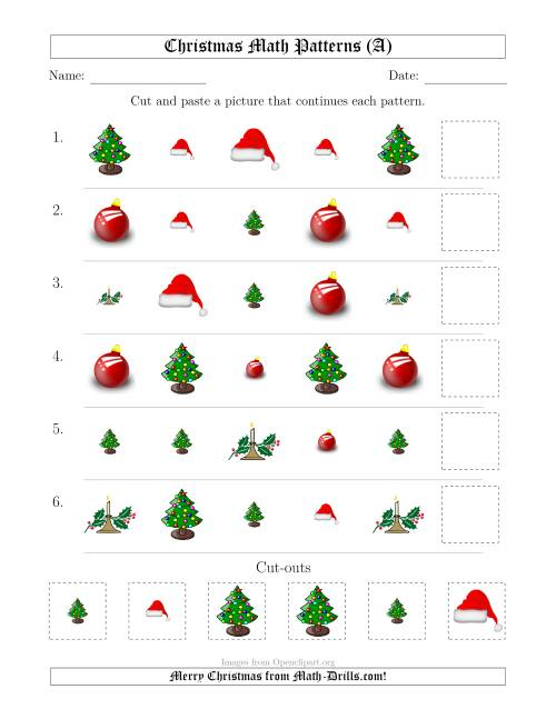 The Christmas Picture Patterns with Shape and Size Attributes (A) Math Worksheet
