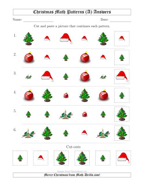 The Christmas Picture Patterns with Shape and Size Attributes (A) Math Worksheet Page 2