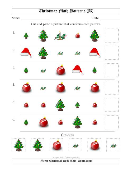 The Christmas Picture Patterns with Shape and Size Attributes (B) Math Worksheet