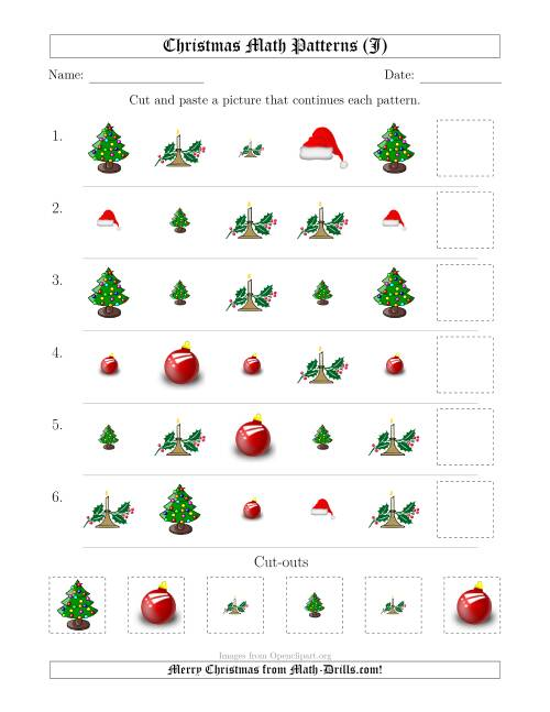 The Christmas Picture Patterns with Shape and Size Attributes (J) Math Worksheet