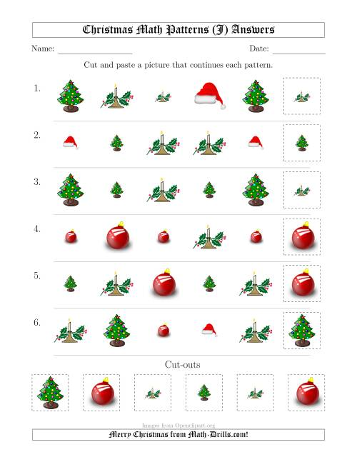 The Christmas Picture Patterns with Shape and Size Attributes (J) Math Worksheet Page 2