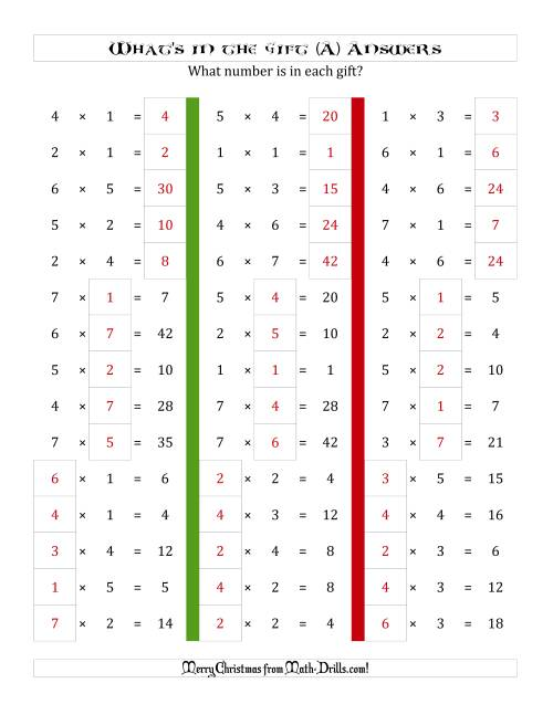 The What's in the Gift? Multiplication (Products to 49) (All) Math Worksheet Page 2
