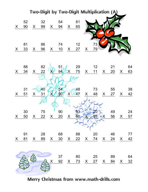The Multiplication Two-Digit by Two-Digit (Vertical; 49 per page) (A) Christmas Math Worksheet