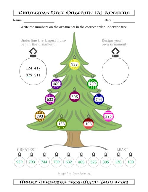 The Ordering/Sorting Numbers 100 to 999 on a Christmas Tree (A) Math Worksheet Page 2