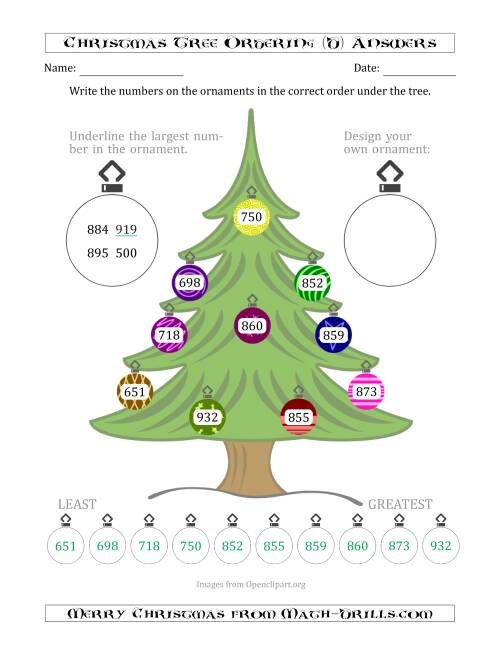 The Ordering/Sorting Numbers 100 to 999 on a Christmas Tree (D) Math Worksheet Page 2