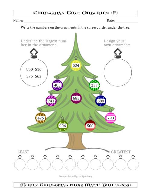 The Ordering/Sorting Numbers 100 to 999 on a Christmas Tree (F) Math Worksheet