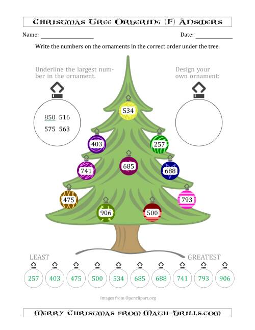 The Ordering/Sorting Numbers 100 to 999 on a Christmas Tree (F) Math Worksheet Page 2