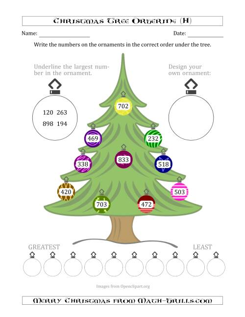 The Ordering/Sorting Numbers 100 to 999 on a Christmas Tree (H) Math Worksheet