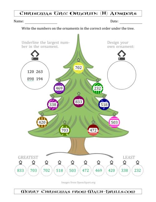 The Ordering/Sorting Numbers 100 to 999 on a Christmas Tree (H) Math Worksheet Page 2