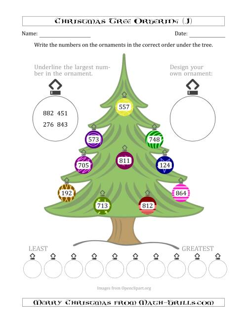 The Ordering/Sorting Numbers 100 to 999 on a Christmas Tree (J) Math Worksheet
