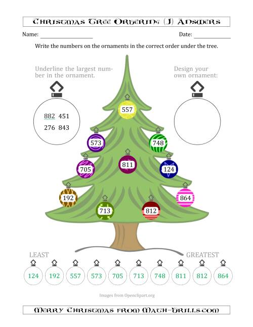 The Ordering/Sorting Numbers 100 to 999 on a Christmas Tree (J) Math Worksheet Page 2