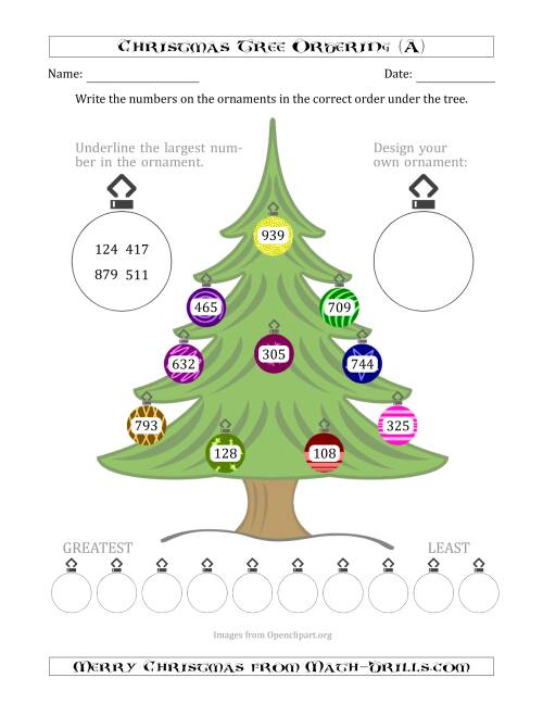 The Ordering/Sorting Numbers 100 to 999 on a Christmas Tree (All) Math Worksheet
