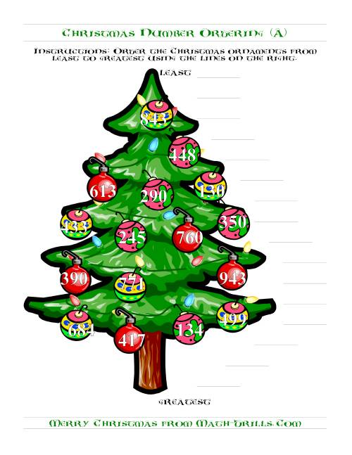 The Ordering Numbers to 1000 on a Christmas Tree (Old) Math Worksheet
