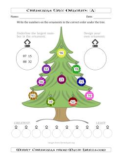 Ordering Numbers to 100 on a Christmas Tree (A)