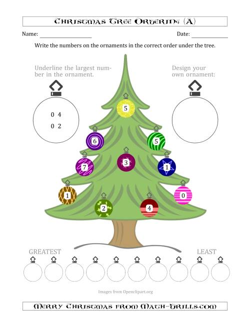The Ordering/Sorting Numbers 0 to 10 on a Christmas Tree (A) Math Worksheet