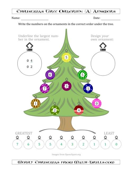 The Ordering/Sorting Numbers 0 to 10 on a Christmas Tree (A) Math Worksheet Page 2