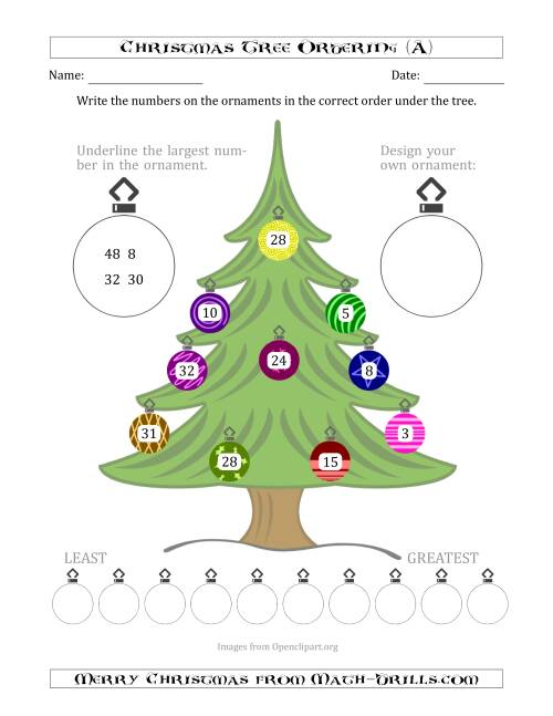 The Ordering/Sorting Numbers 1 to 50 on a Christmas Tree (A) Math Worksheet