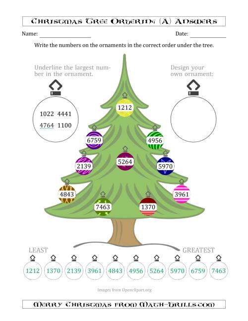 The Ordering/Sorting Numbers 1000 to 9999 on a Christmas Tree (A) Math Worksheet Page 2