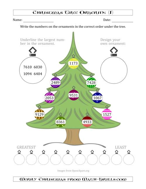 The Ordering/Sorting Numbers 1000 to 9999 on a Christmas Tree (I) Math Worksheet