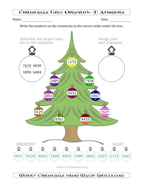 The Ordering/Sorting Numbers 1000 to 9999 on a Christmas Tree (I) Math Worksheet Page 2