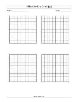photograph about Printable Hundreds Grids named Hundredths Grid