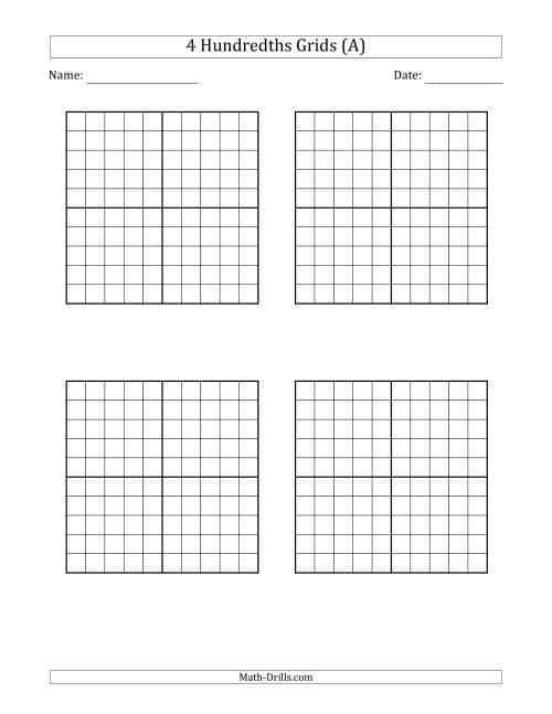 The Four Hundredths Grids Math Worksheet