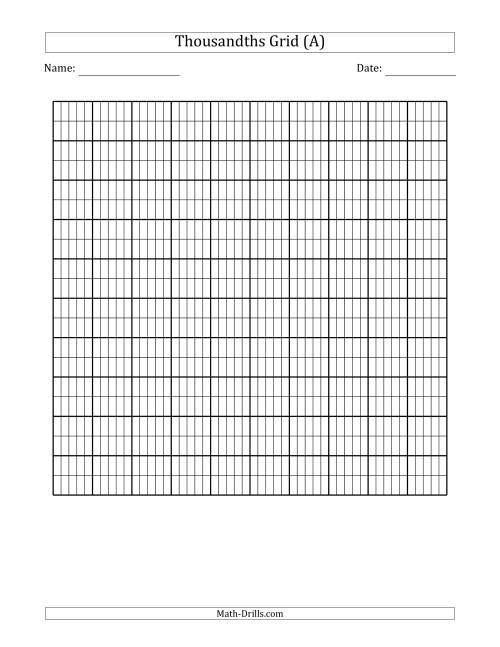 worksheet Blank Graph Paper Printable blmthousandthsgrid pin jpg more information
