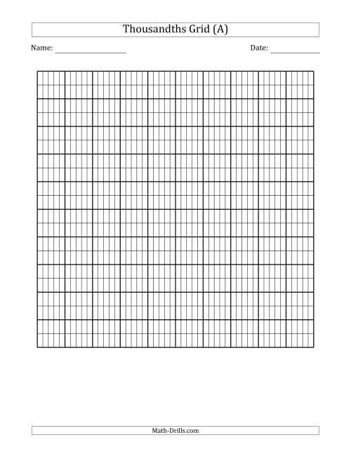 thousandths grid decimals worksheet. Black Bedroom Furniture Sets. Home Design Ideas