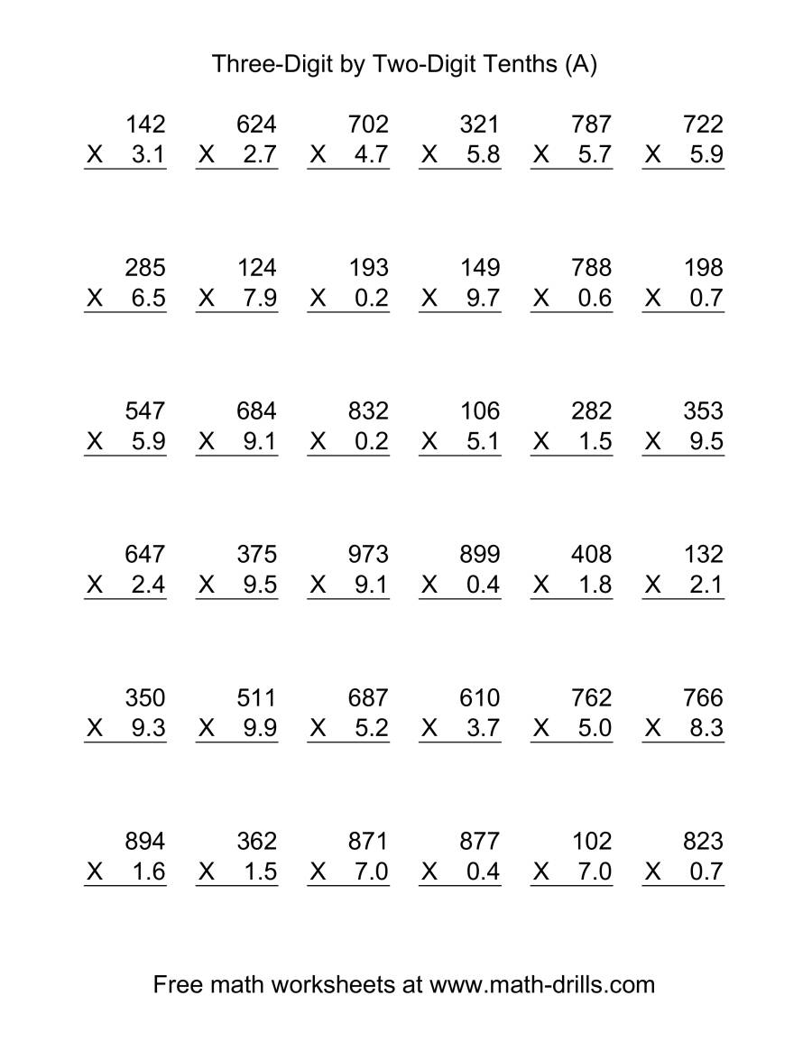 Multiplying Decimals This decimals worksheet may be