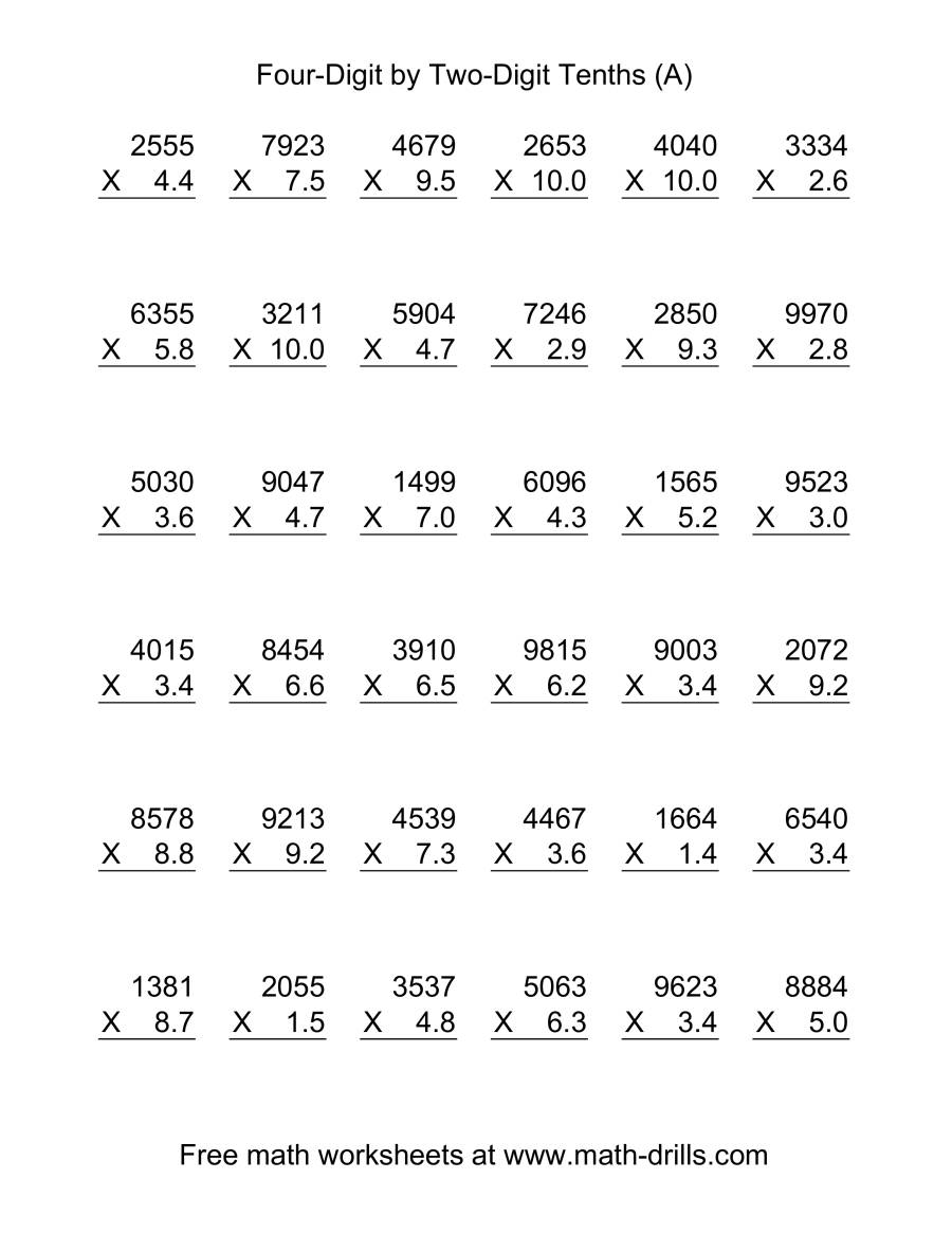 4Digit Whole Number by 2Digit Tenths vertical 36 per page A – Four Digit Multiplication Worksheets