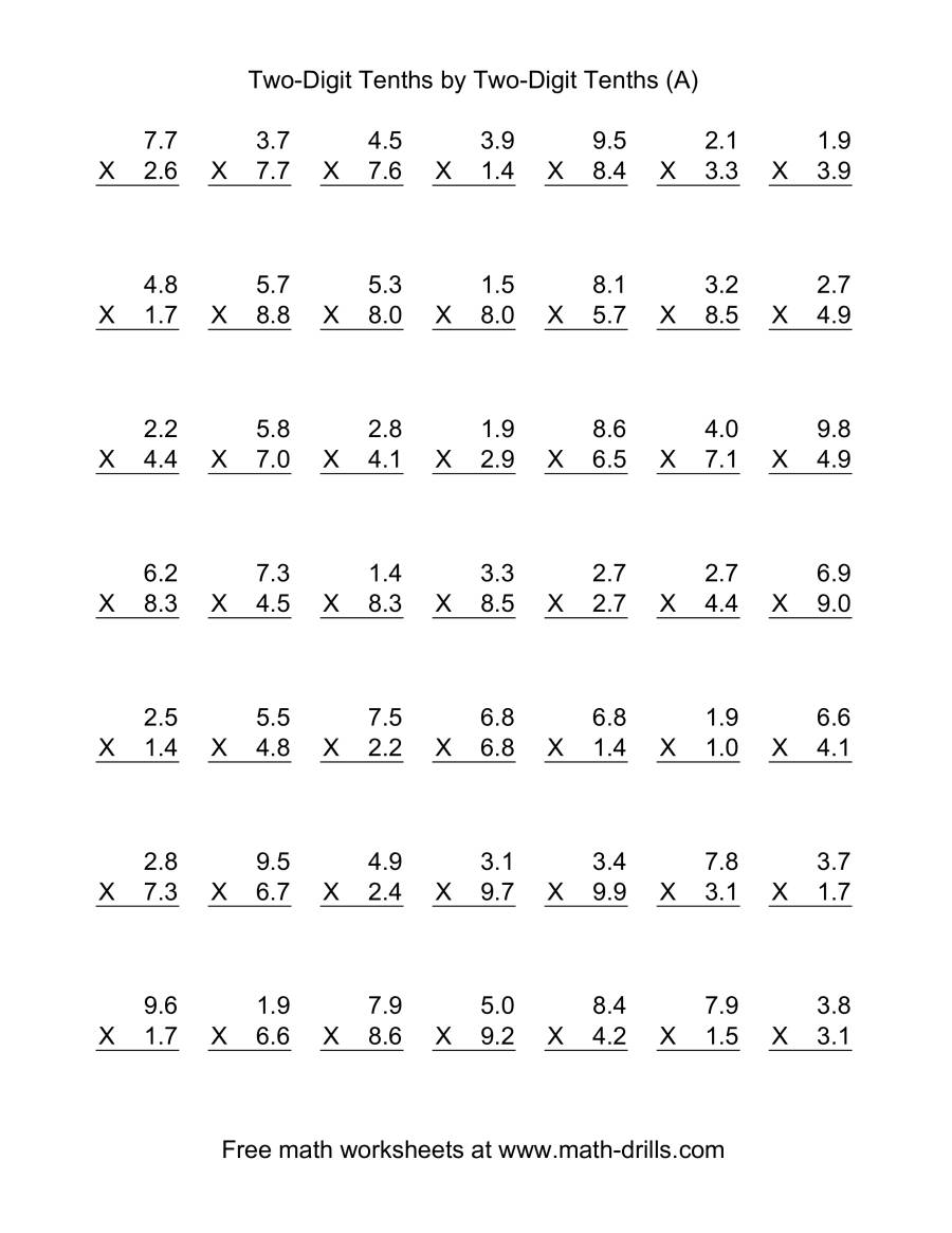 math worksheet : multiplying decimals by one digit whole numbers worksheet  : Two By One Multiplication Worksheets
