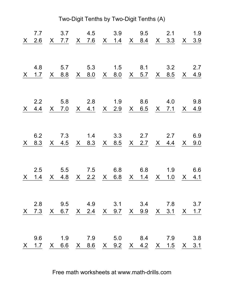 math worksheet : multiplying decimals by one digit whole numbers worksheet  : Multiplying A Decimal By A Whole Number Worksheet