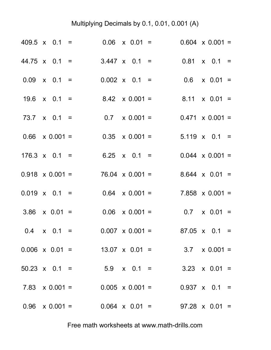 Worksheets Multiplying Decimals Worksheet decimal 0 1 01 or 001 horizontal 45 per page a the page