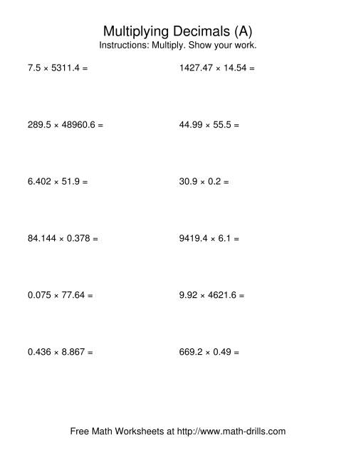 The Random Number of Digits and Random Number of Places (A) Decimals Worksheet