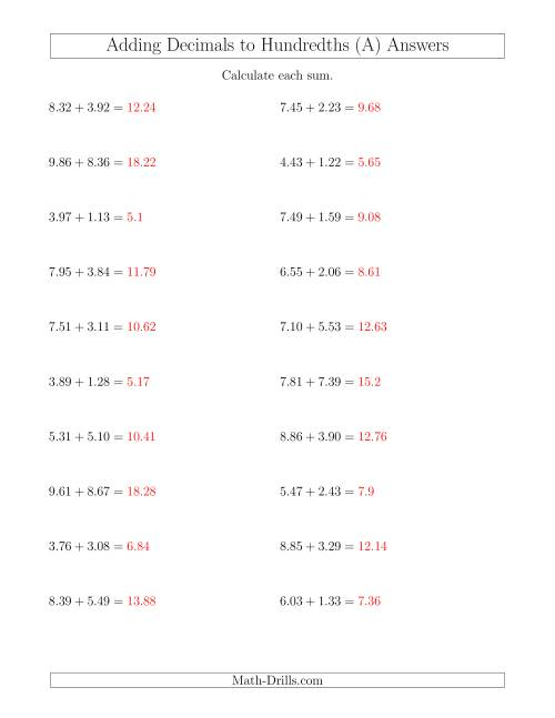 grade 5 math worksheet - adding decimals with missing 2-digit ...