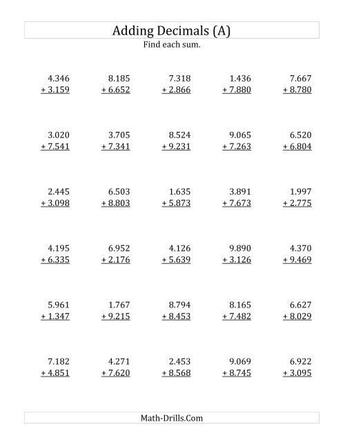 Adding Decimal Thousandths with 1 Digit Before the Decimal range – Addition Decimals Worksheets