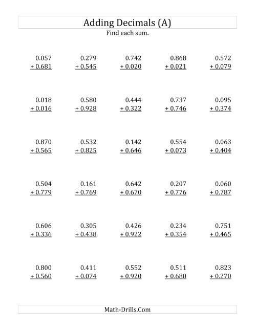 Adding and subtracting decimals worksheets math drills