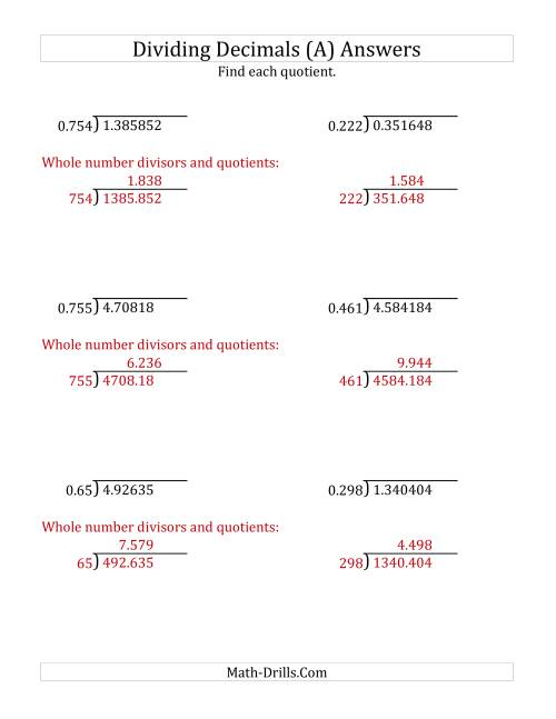 The Dividing Decimals by 3-Digit Thousandths with Larger Quotients (A) Math Worksheet Page 2