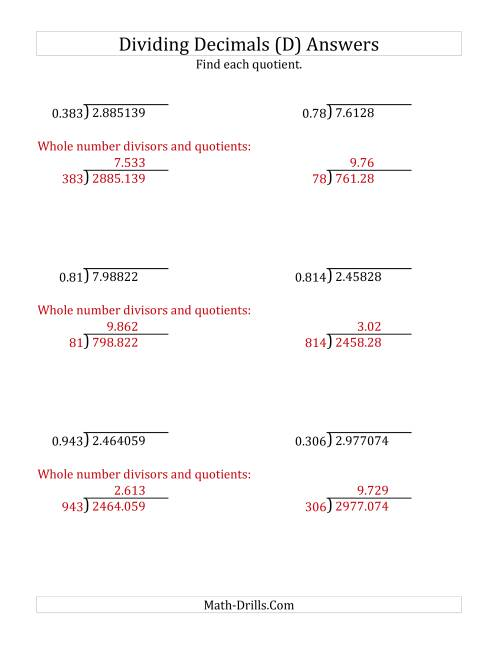 The Dividing Decimals by 3-Digit Thousandths with Larger Quotients (D) Math Worksheet Page 2