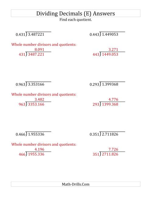 The Dividing Decimals by 3-Digit Thousandths with Larger Quotients (E) Math Worksheet Page 2
