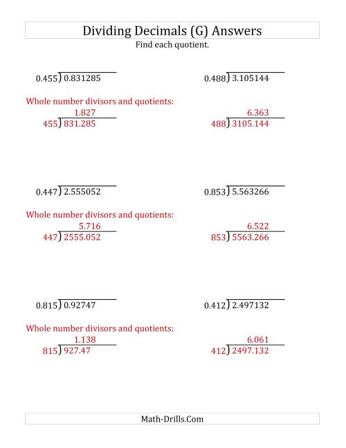 The Dividing Decimals by 3-Digit Thousandths with Larger Quotients (G) Math Worksheet Page 2