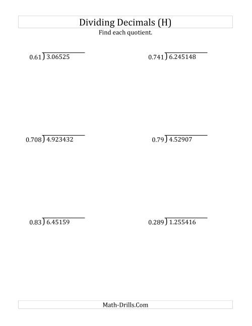 The Dividing Decimals by 3-Digit Thousandths with Larger Quotients (H) Math Worksheet