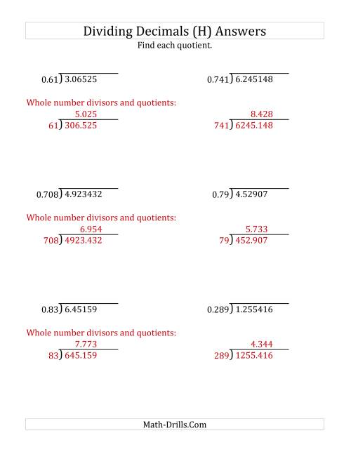 The Dividing Decimals by 3-Digit Thousandths with Larger Quotients (H) Math Worksheet Page 2