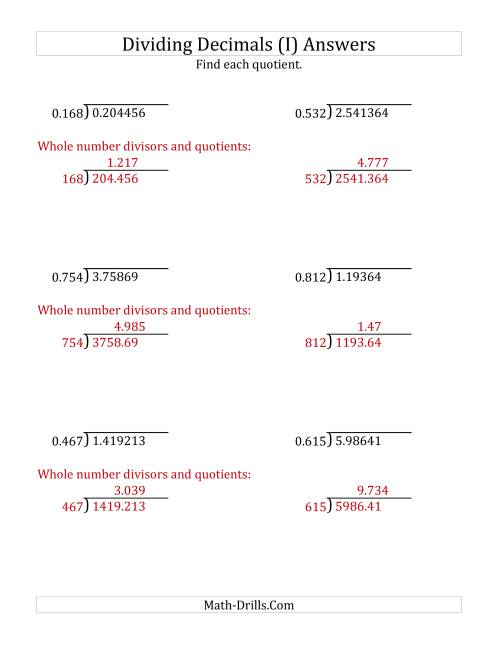 The Dividing Decimals by 3-Digit Thousandths with Larger Quotients (I) Math Worksheet Page 2