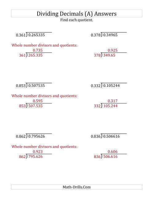 The Dividing Decimals by 3-Digit Thousandths (A) Math Worksheet Page 2