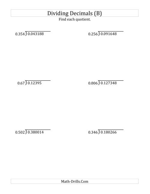 The Dividing Decimals by 3-Digit Thousandths (B) Math Worksheet