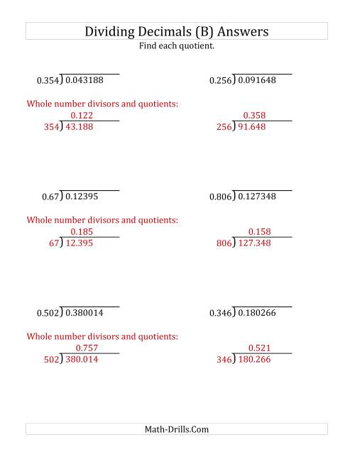 The Dividing Decimals by 3-Digit Thousandths (B) Math Worksheet Page 2