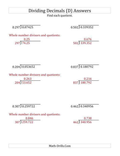 The Dividing Decimals by 3-Digit Thousandths (D) Math Worksheet Page 2